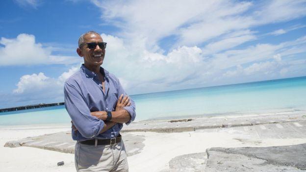 Le président Barack Obama dans l'Atoll in the Papahanaumokuakea Marine National Monument dans l'Océan Pacifique