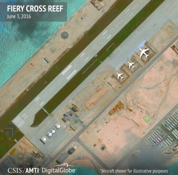Hangars on Fiery Cross Reef