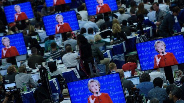 La sala de prensa en el debate
