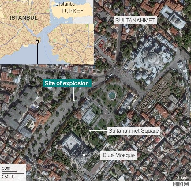 Turkey: 'IS suicide bomber' kills 10 in Istanbul Sultanahmet district
