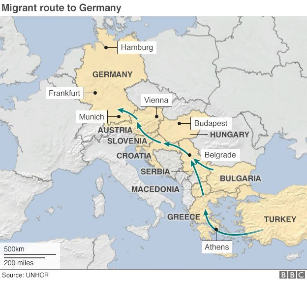 Migrant route to Germany map ...