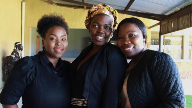 Kamogelo Seekoei (C) with friends in Johannesburg