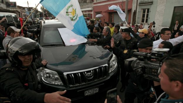 Guatemala's former President Otto Perez Molina arrives at Matamoros Army Base with police escort after a hearing at the Supreme Court of Justice in Guatemala City - 3 September 2015
