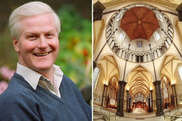 Reverend and Valiant Master of the Temple Robin Griffith-Jones and the inside of Temple Church