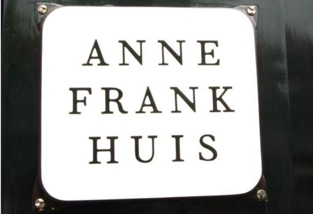 A plaque outside the Anne Frank museum in Amsterdam