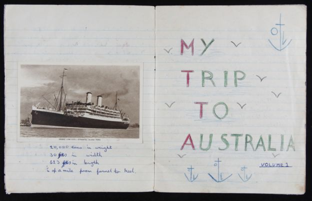 A diary of the voyage to Australia written by one little girl, Maureen Mullins