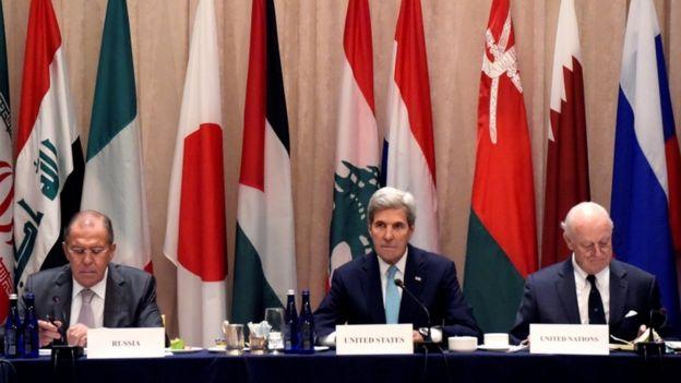 El canciller ruso, Sergei Lavrov, con John Kerry en Naciones Unidas