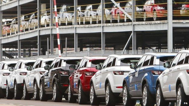 Range Rover Evoque cars at the docks in Southampton awaiting export