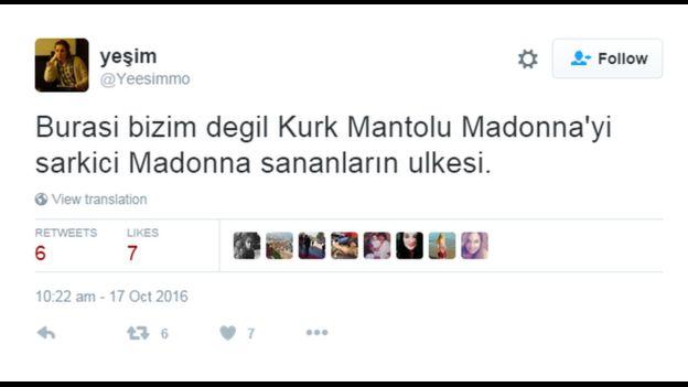 Kurk Mantolu Madonna üzerine mesaj