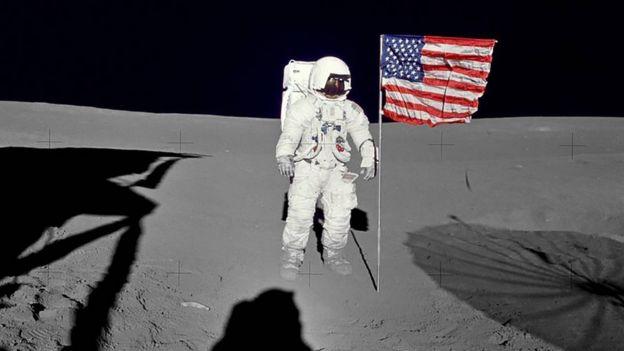 US astronaut Edgar Mitchell on the Moon, 5 February 1971