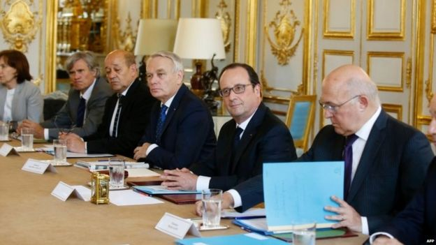 French President Francois Hollande during an emergency cabinet meeting