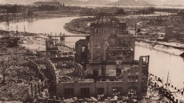 A file photo dated September 1945 of the remains of the Prefectural Industry Promotion Building after the bombing of Hiroshima, which was later preserved as the Hiroshima Peace Memorial, Atomic Bomb Dome or Genbaku Dome