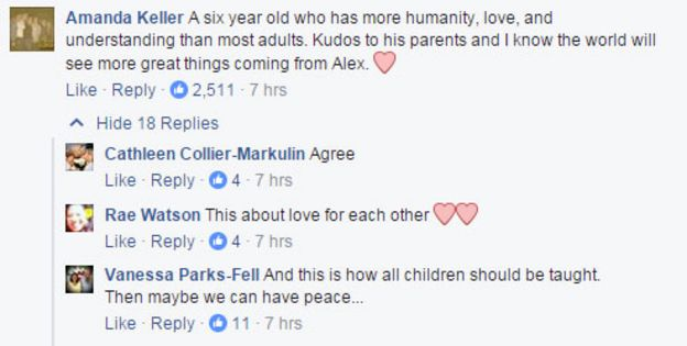 Amanda Keller's comment on Facebook: 'A six year old who has more humanity, love, and understanding than most adults. Kudos to his parents and I know the world will see more great things coming from Alex'