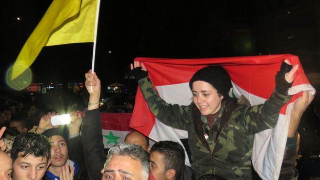 Celebraciones en el oeste de Alepo