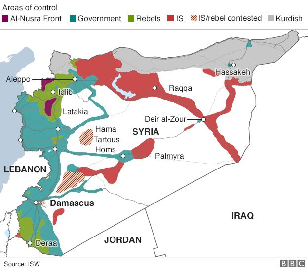 Syria areas of control map