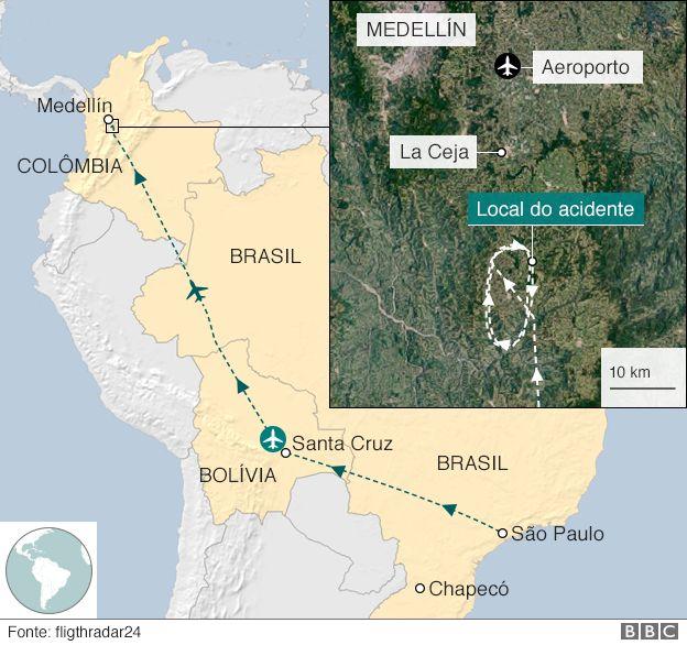 Mapa do local do acidente