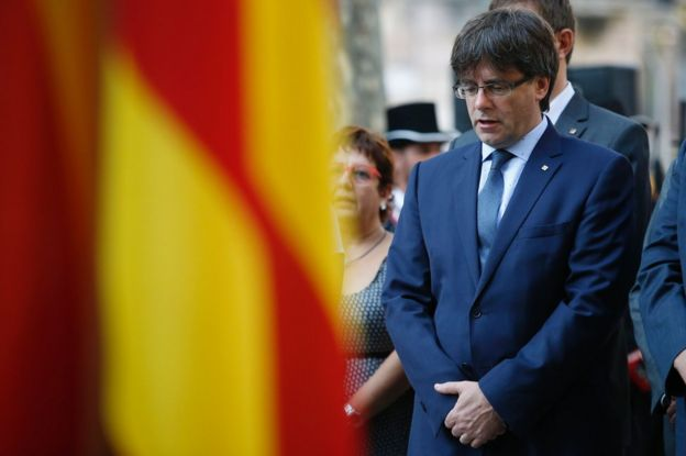 Carles Puigdemont attends a wreath-laying ceremony at the Rafael de Casanovas monument in Barcelona, 11 September