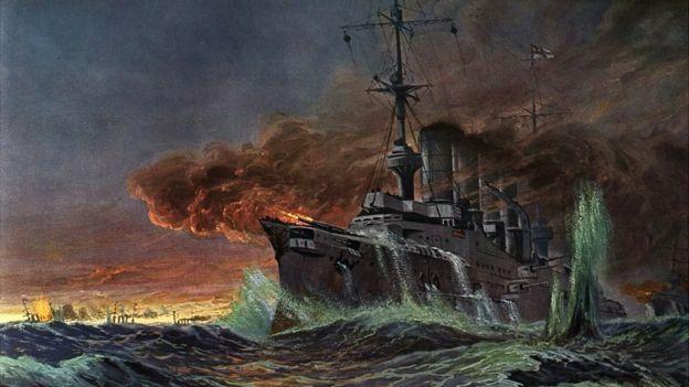 Pintura da Batalha de Coronel feita pelo pintor alemão Adolf Bock