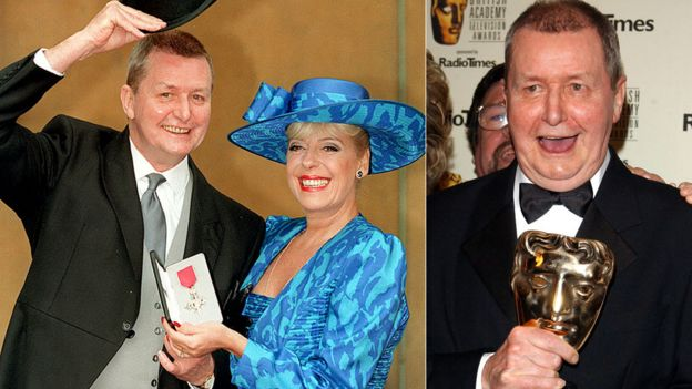 Tony Warren with Julie Goodyear in 1994 and with a Bafta award in 2004