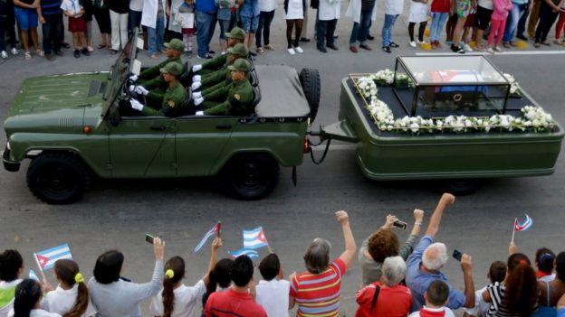 Los restos de Fidel en su recorrida por Cuba.
