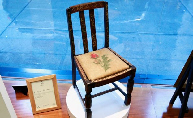 A chair used by British author JK Rowling while writing
