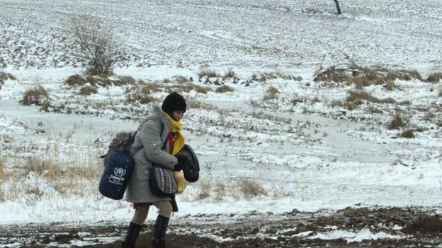 Migrant on the border between Serbia and Macedonia, 18 Jan