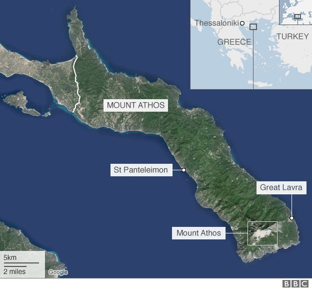 Mount Athos map