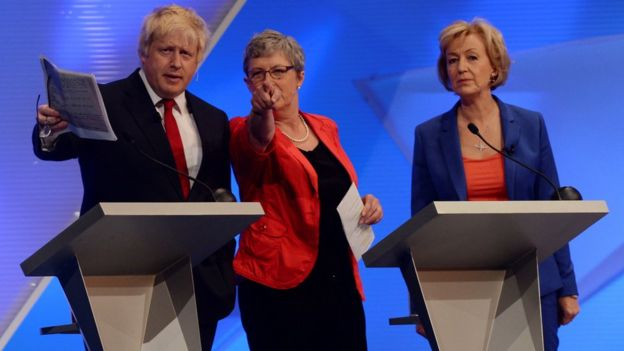 Boris Johnson, Gisela Stuart and Andrea Leadsom during a televised EU referendum debate