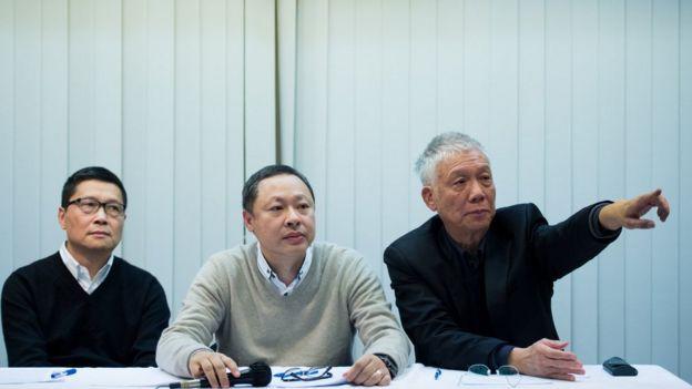 從左至右:陳健民、戴耀庭、朱耀明(2/12/2014)