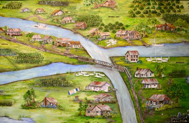 a painting of the towns