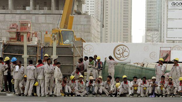 Trabajadores de la construcción en Dubai