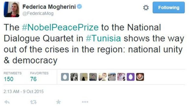 Federica Mogherini tweets: The #NobelPeacePrize to the National Dialogue Quartet in #Tunisia shows the way out of the crises in the region: national unity & democracy
