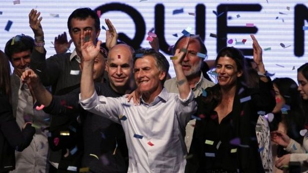 Argentine presidential candidate Mauricio Macri celebrates at the party's headquarters in Buenos Aires on 25 October, 2015.