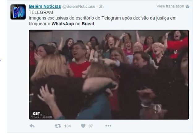 Twitter user @BelemNoticias tweets pic of jubilant crowd cheering and hugging: