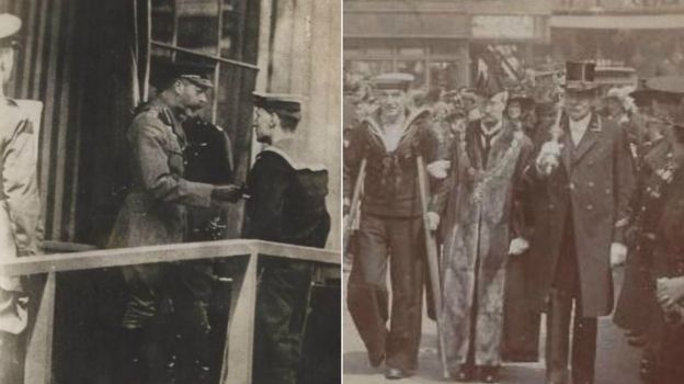 Albert McKenzie receives the Victoria Cross from King George V, left, and is greeted as a hero in Southwark