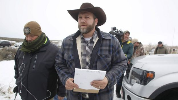 Ammon Bundy arrives to address the media at the Malheur National Wildlife Refuge near Burns, Oregon in this January 5, 2016 file photo.