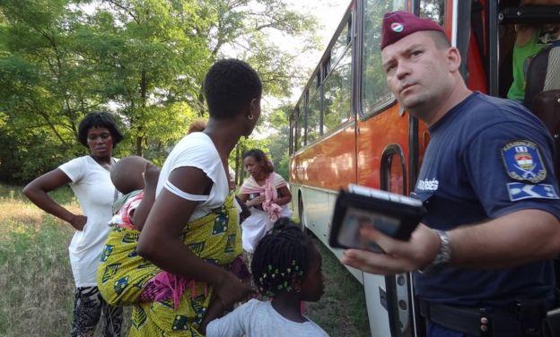 Migrants arrive at the Hungarian border