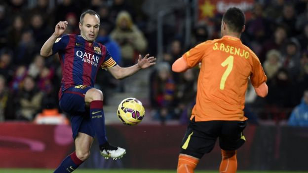 Iniesta in action for Barcelona