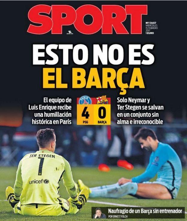 Portada del periódico catalán Sport