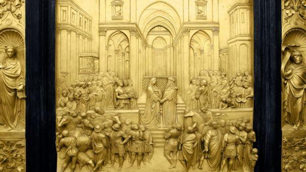 Representación de la visita de la reina de Saba al rey Salomón.