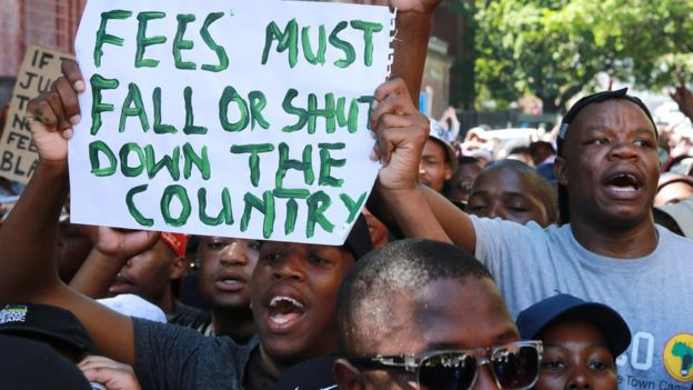 Student protesters in Cape Town