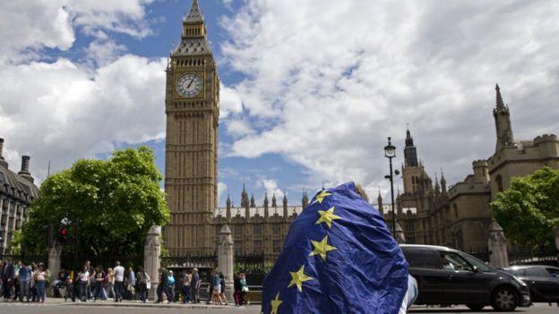 Hombre cubierto con la bandera de la UE frente al Big Ben