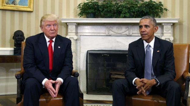 Trump na Obama wakiwa Oval Office