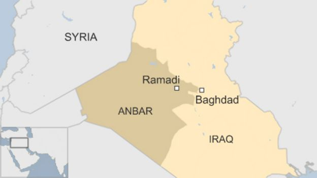 Map of Iraq, showing Ramadi