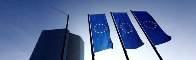ECB headquarters and flags