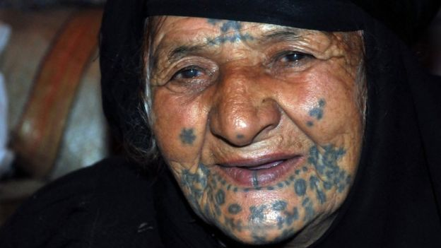 A Bedouin woman from Syria with her face tattooed