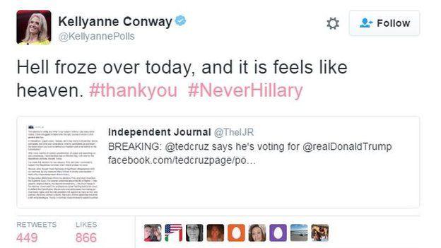 Trump campaign manager Kellyanne Conway tweets: