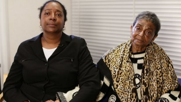 Ava (left) and Pansy Blake the sister and mother of murdered actress Sian Blake