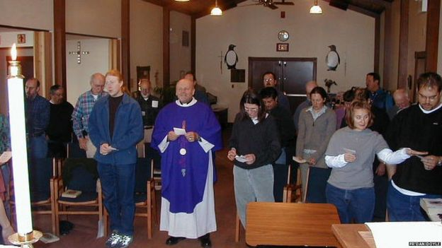 Father Dan Doyle leads a service in the Chapel of the Snows