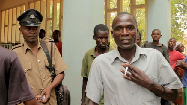 Eric Aniva outside court in Nsanje in August